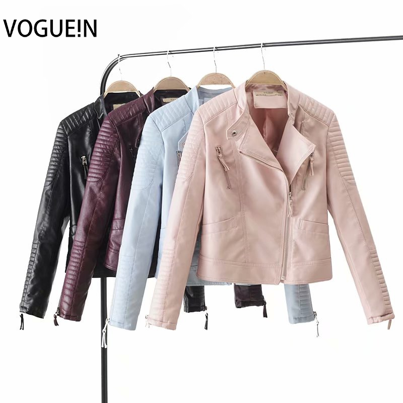VOGUEIN New Womens Motorcycle PU   Leather   Jacket Coat 4 Colors Zipper Outerwear Wholesale