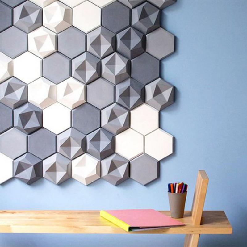Geometric Concrete Wall Mold TV Background Decoration Wall Brick Molds Silicone Forms For Wall Stone Hexagon Craft Silicone Mold
