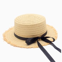 Hot Sale  Flat High sun Hat Summer Spring Womens Travel Caps Bandages Beach child Traw Breathable Fashion Flower