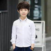 Childrens Clothing 2019 spring and autumn new cotton solid color white shirt long-sleeved boy clothes