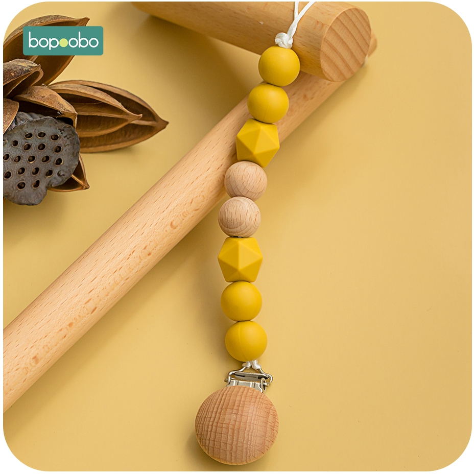 Bopoobo 15mm Silicone Beads Pacifier Clip Baby Teether Holder For Nipples Silicone Rodent Toys Baby Tiny Rod Wood Teether
