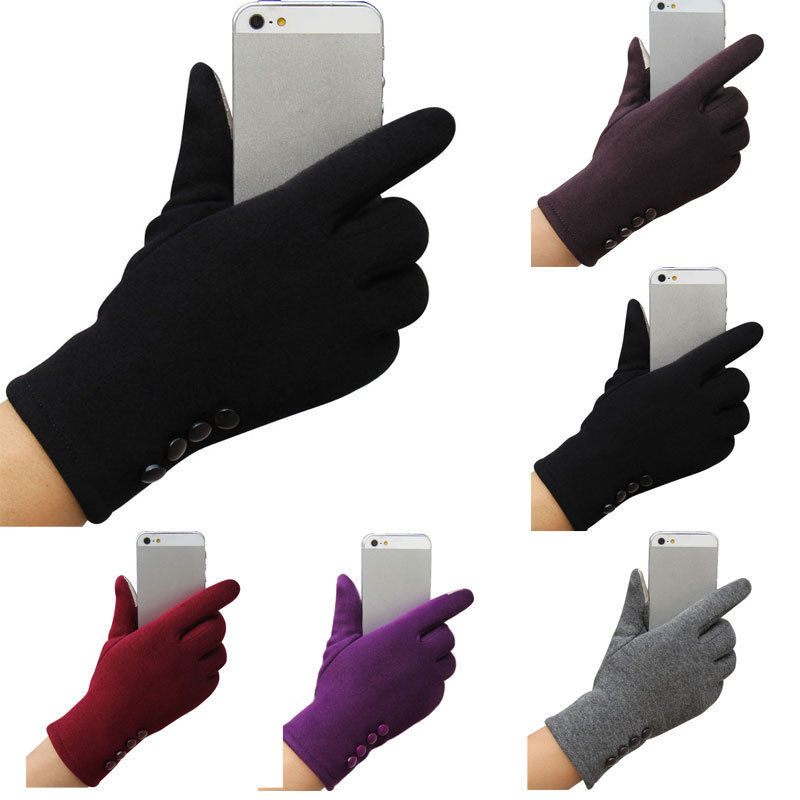 Women Ladies Button Fleece Thermal Lined Touch Screen Gloves Winter Glove