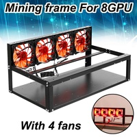 1Pcs Black Mining Rig Frame Case for 8 GPU Crypto currency Mining Rigs with 4 Fans