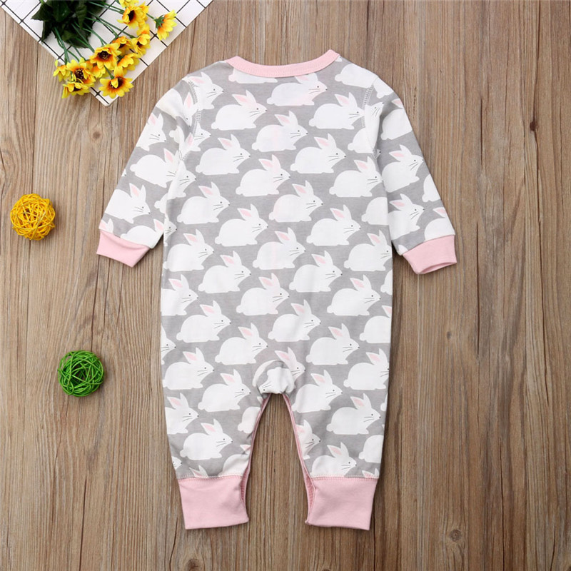 Active Newborn Infant Baby Girls Romper Long Sleeve Bunny Button Jumpsuit Warm Playsuit Girls Clothes