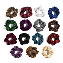 Bright Elastic Hair Bands Silk Scrunchies Satin Hairband Tie Rope Girls Ponytail Holder Solid Shiny Headwear