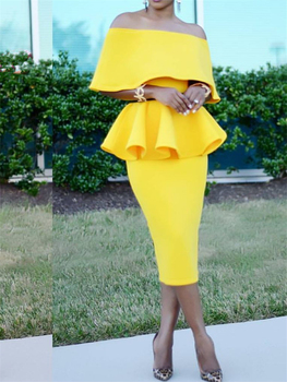 2 Pieces Sets Spring Women Pencil Skirts with One Shoulder  Peplum Tops Suits Elegant Officewear Slim Jupes Lady Fashion Summer 1