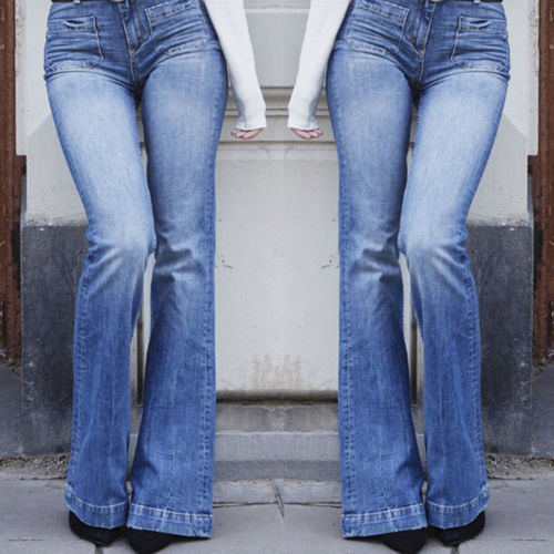 Jeans for Women High Waist Straight Leg Pants Casual Loose Plus Size Bootcut Washed Denim Trousers