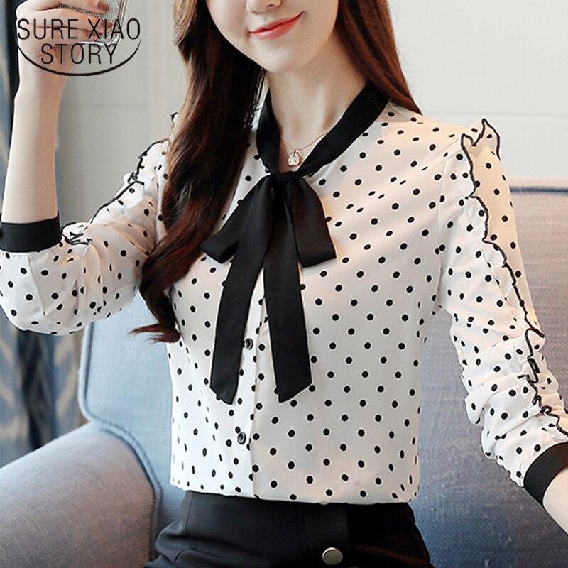 fashion women blouses 2019 autumn Polka Dot long sleeved shirts female causal chiffon long sleeve tops blusa feminine 1318 40
