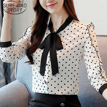 fashion women blouses 2019 autumn Polka Dot long sleeved shirts female causal chiffon long sleeve tops blusa feminine 1318 40 - DISCOUNT ITEM  34% OFF All Category