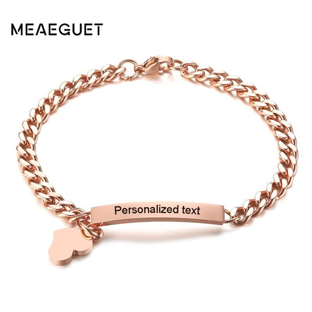Engrave ID Bracelet Women Personalized Text Rose Gold Bangle For Femme Stainless Steel Mom Wife Female Lady Jewelry Dropshipping