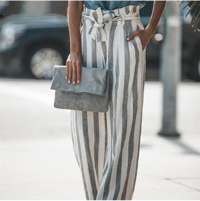 Women fashion casual loose high waist   wide     leg     pant   ladies striped long trouser go out wear plus size