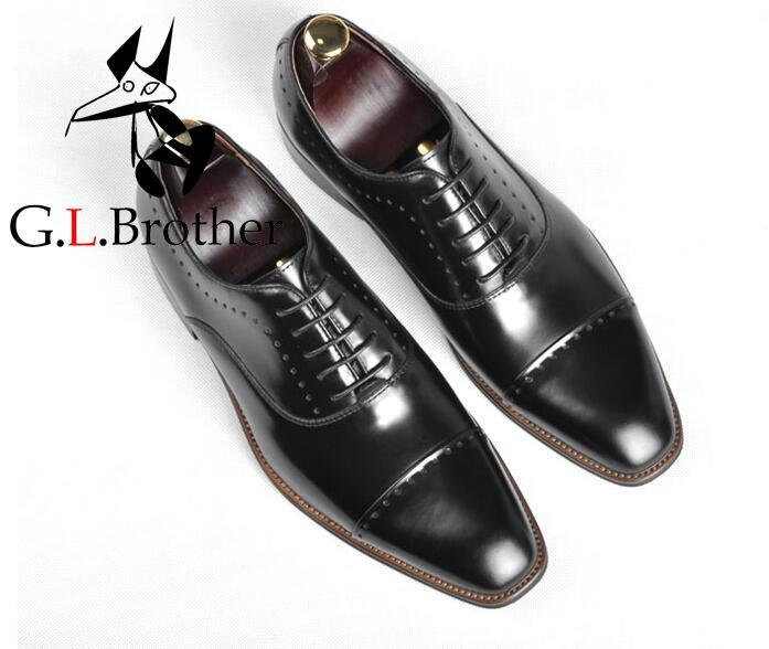 Handmade Dress Shoes Men Lace Up Genuine Leather Wedding Groom Patchwork Formal Business Oxfords Goodyear Sewing Derby Shoes цена и фото