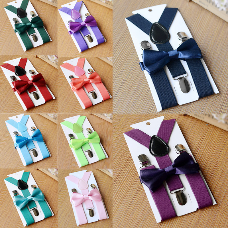 Braces Bow Tie Y-Back Strap Clips Wedding Kids Tuxedo Adjustable 26 Colors Suit Children Elastic Shirt Boy Girls Belt Suspenders