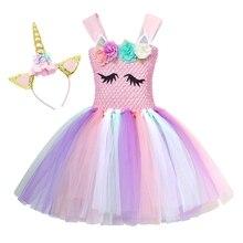 AmzBarley Girls Unicorn Handmade Flower Tutu Dress With Headband For Kids Birthday Princess Party Costume Carnival Clothes
