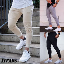 Mens Slim Fit Trousers Tracksuit Bottoms Skinny Joggers Sweat Pants Track Men Long Sweatpants