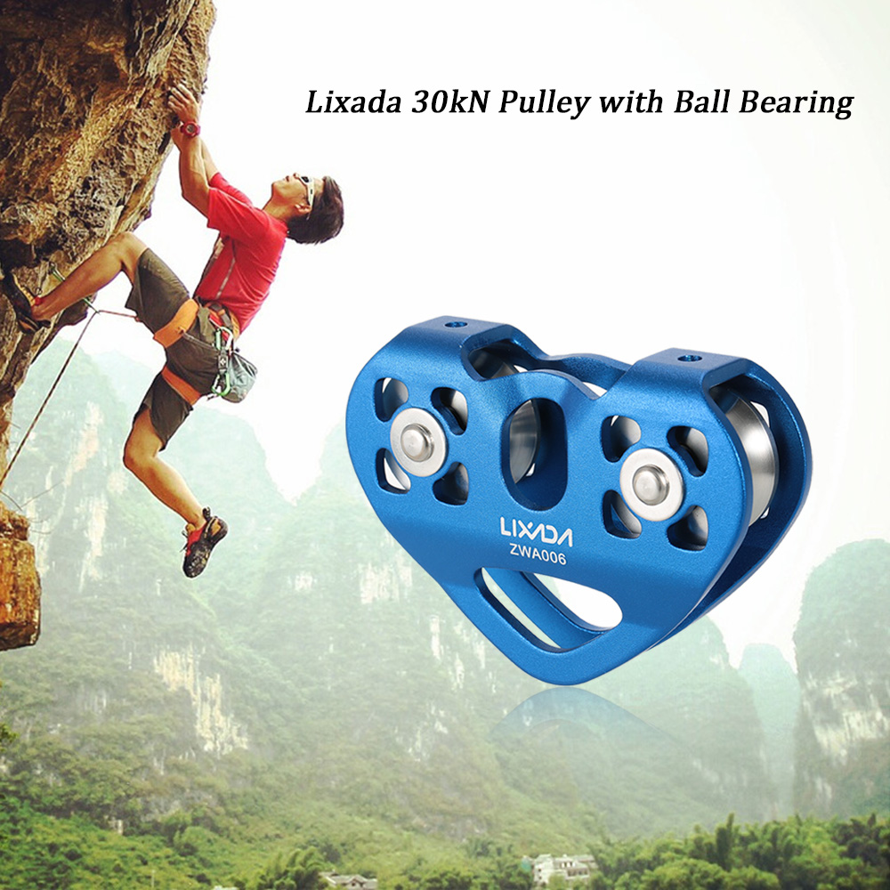 Lixada 30kN Outdoor Rock Climbing Cable Trolley Pulley with Ball Bearing Mountaineering Rock Climbing Caving Aloft Work RescueLixada 30kN Outdoor Rock Climbing Cable Trolley Pulley with Ball Bearing Mountaineering Rock Climbing Caving Aloft Work Rescue
