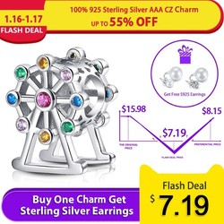 Strollgirl fit pandora charms sterling silver 925 original Ferris wheel Charms beads with color stone for women jewelry gifts