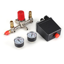 New AC 230V 2 Phase 1 Port Pressure Control Switch Valve Air Compressor Pump Control Switch With 2 Press Gauges 0 180 PSI