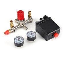 Novo AC 230 V Fase 2 1 Porta Interruptor de Controle Da Bomba Compressor de Ar Interruptor Da Válvula De Controle de Pressão Com 2 Imprensa medidores 0 180 PSI