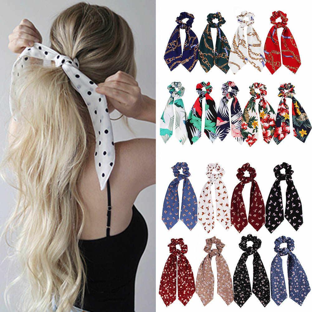 Boho imprimer queue de cheval écharpe noeud élastique cheveux corde cravate chouchous imprimé breloques dame offre spéciale 2019 Chic femmes ruban bandes de cheveux