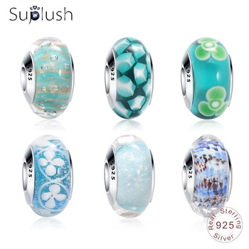 Suplush 100% 925 Sterling Silver Blue/Green Effervescence Murano Glass Bead Charms Fit Original Pandora Charm Bracelet Jewelry Beads