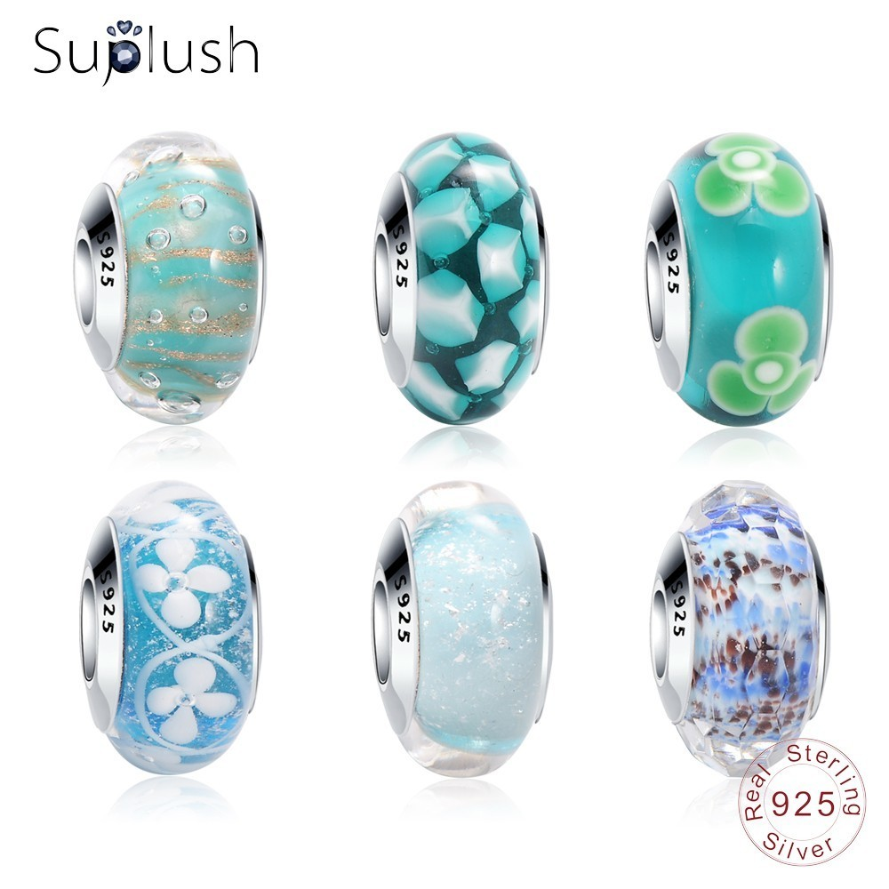 Blue Green Ocean Murano Glass Mix Of 6 Sterling Silver Core Spacer Bead Fits European Charm Bracelet For Women For Teen