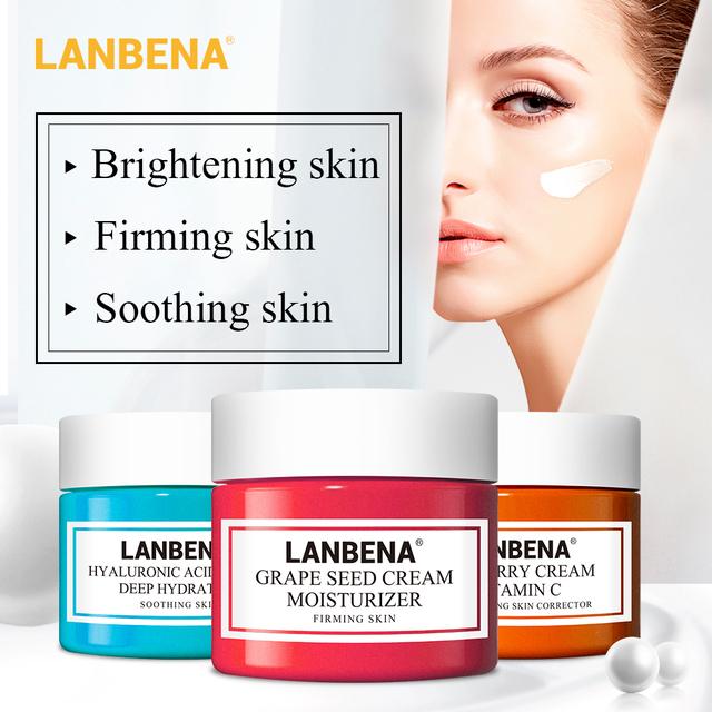 LANBENA Face Cream Vitamin C Hyaluronic Acid Moisturizing Cream Anti Wrinkle Anti Aging Acne Treatment Whitening Skin Care Serum