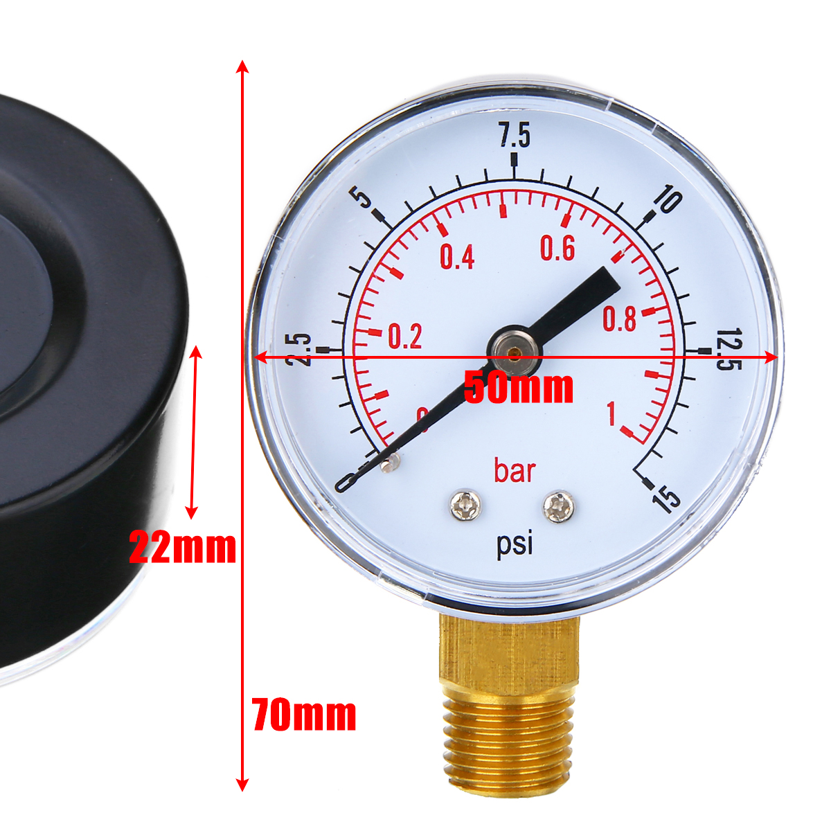 NEW 1/4 BSPT Low Pressure Gauge Air Compressor Meter Manometer 50mm 0-15 PSI 0-1 Bar For Fuel Air Oil Gas Water