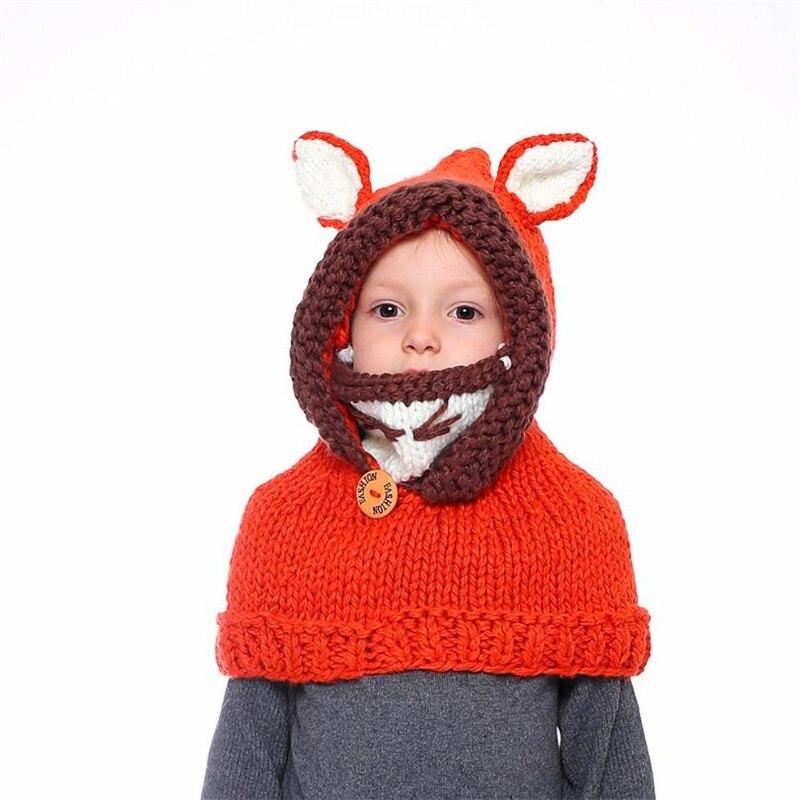 IANLAN Winter Hat Scarf Children Lovely Warm Sets Little Fox Design Cute Thickening Knit Woolen Kids Caps Scarves IL00188