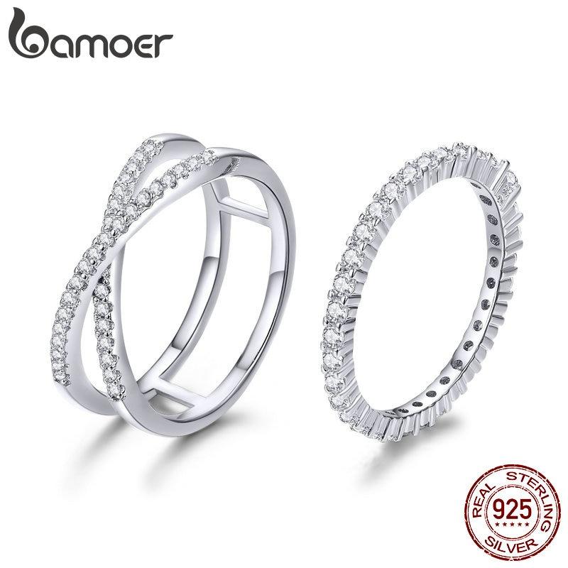 BAMOER 2pcs Authentic 925 Sterling Silver Dazzling CZ Anéis Geométricas para As Mulheres anel de Noivado Casamento Jóias SCR463