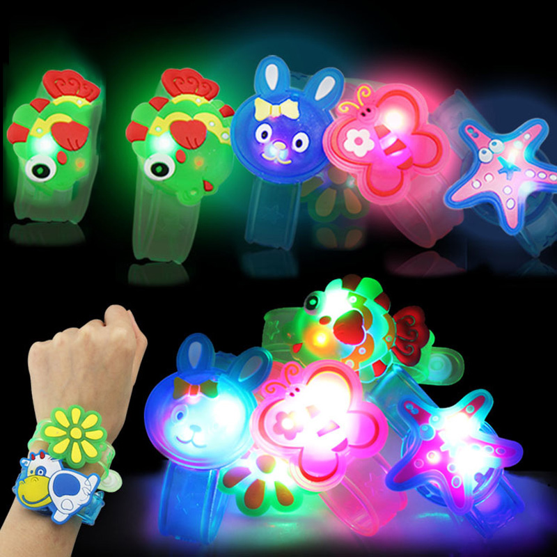 Rubber Adjustable Colorful Luminous Watch Toys For Children Cartoon Light-up Flash Wrist Hand Dance Party Stress Relief Toy Gift