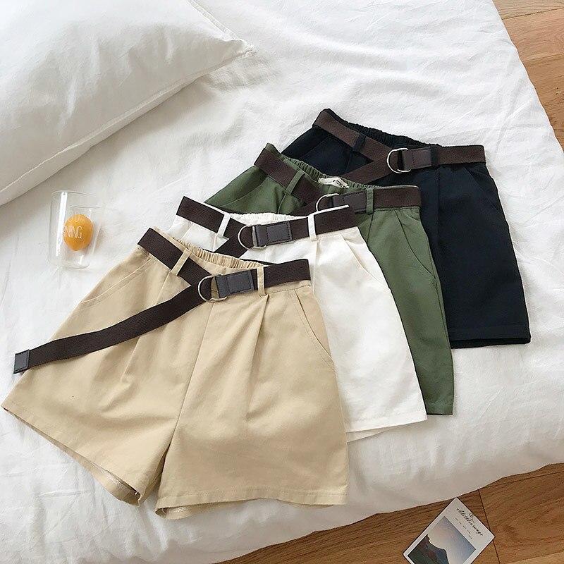 colores delicados salida online nuevo estilo Pantalón corto informal Formal de estilo de Safari con cintura alta  elástica y cintura alta para ...