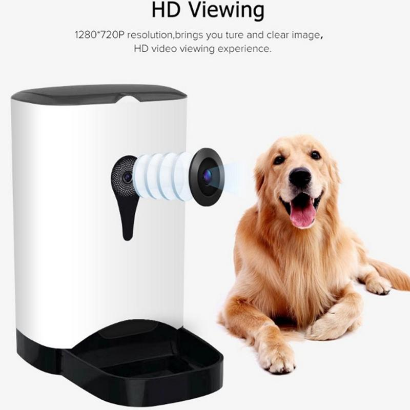 Pet Intelligent Automatic Feeder With WiFi Remote Control With Video Monitors Rechargeable Suitable For Dogs Cats