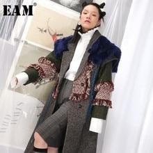 [EAM] Новинка, весеннее шерстяное пальто с отворотом, длинным рукавом, хитовый цвет, с мехом, с кисточками, длинное шерстяное пальто, женские парки, модный тренд JK669