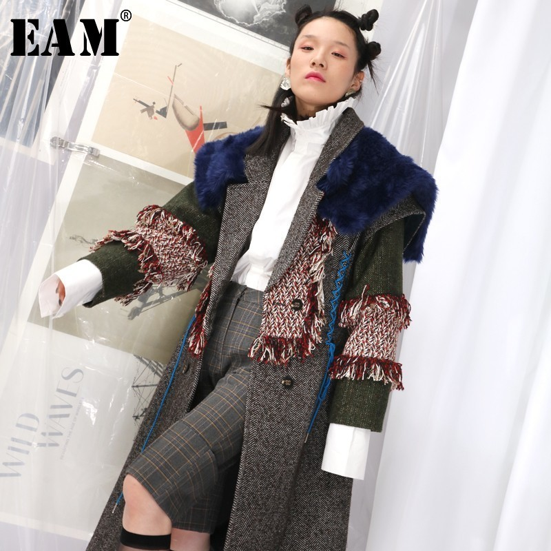 [EAM]2020 New Spring Lapel Long Sleeve Hit Color Fur Tassels Split Joint Long Woolen Coat Women Parkas Fashion Tide JK669