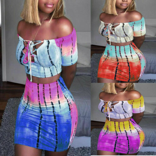 2020 Women 2 Piece Bandage Set Sexy Bodycon Strapless Croped Tops + Mini Wrap Skirt Ladies Summer Casual Clubwear Women Clothes