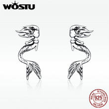WOSTU Hot Sale Drop Earring Authentieke 925 Sterling Zilveren Sieraden Mermaid Drop Earring Voor Vrouwen Engagement Party DXE588(China)
