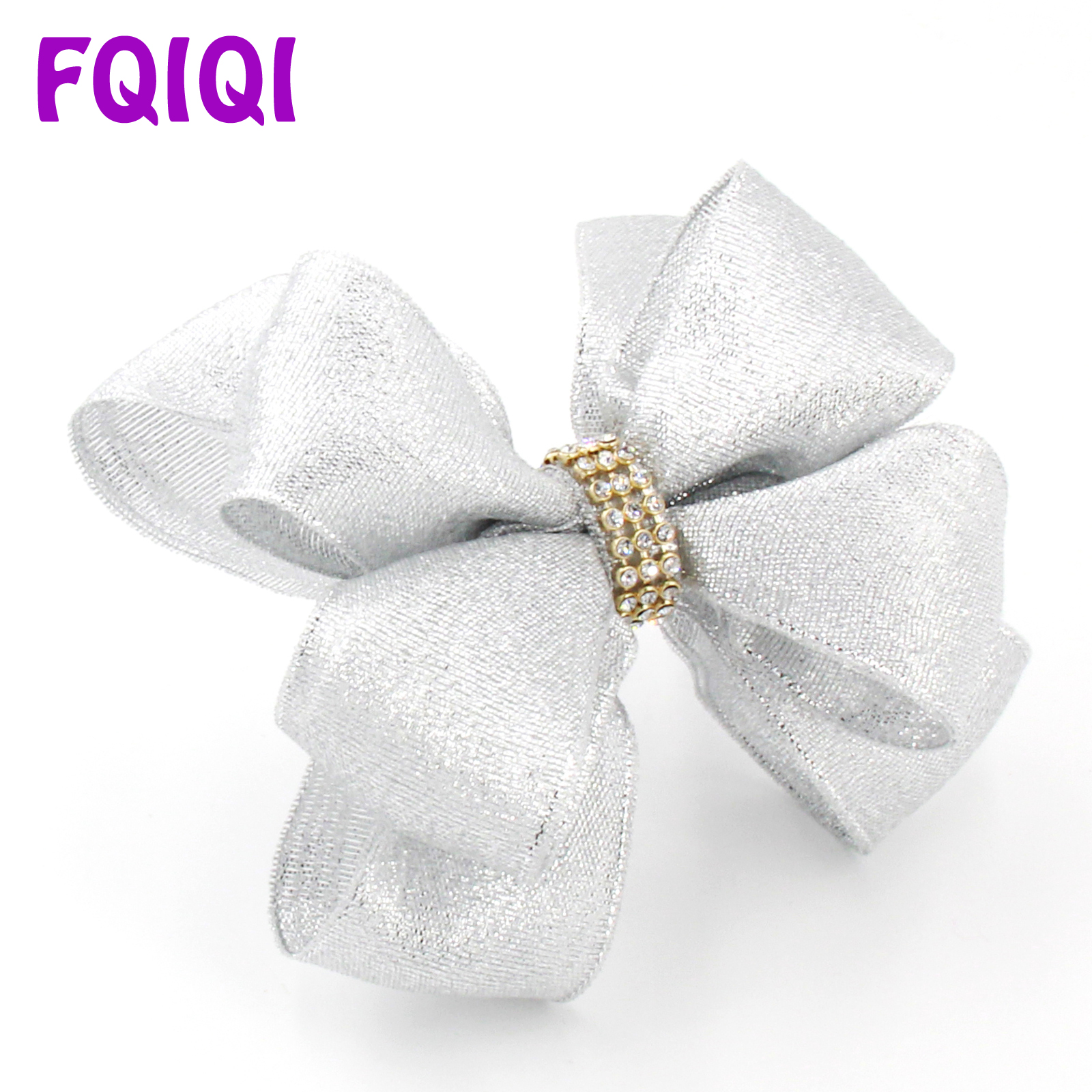 Silver//gray Velvet Party Glitter Hair Bow 1 X Xmas Party Glitter Bow