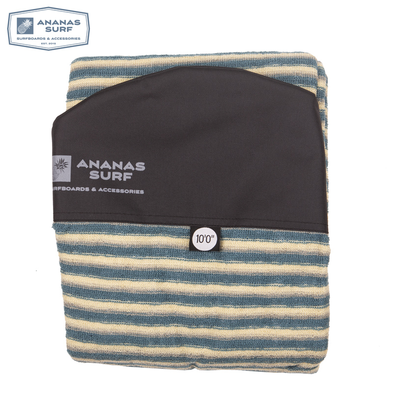 "Ananas Surf Surfboard Sock 10 Ft. Surfing Longboard Round Nose Soft Cover Bag Protective 10'0"" 300 Cm Stretch Terry Knit Fabric Removing Obstruction"
