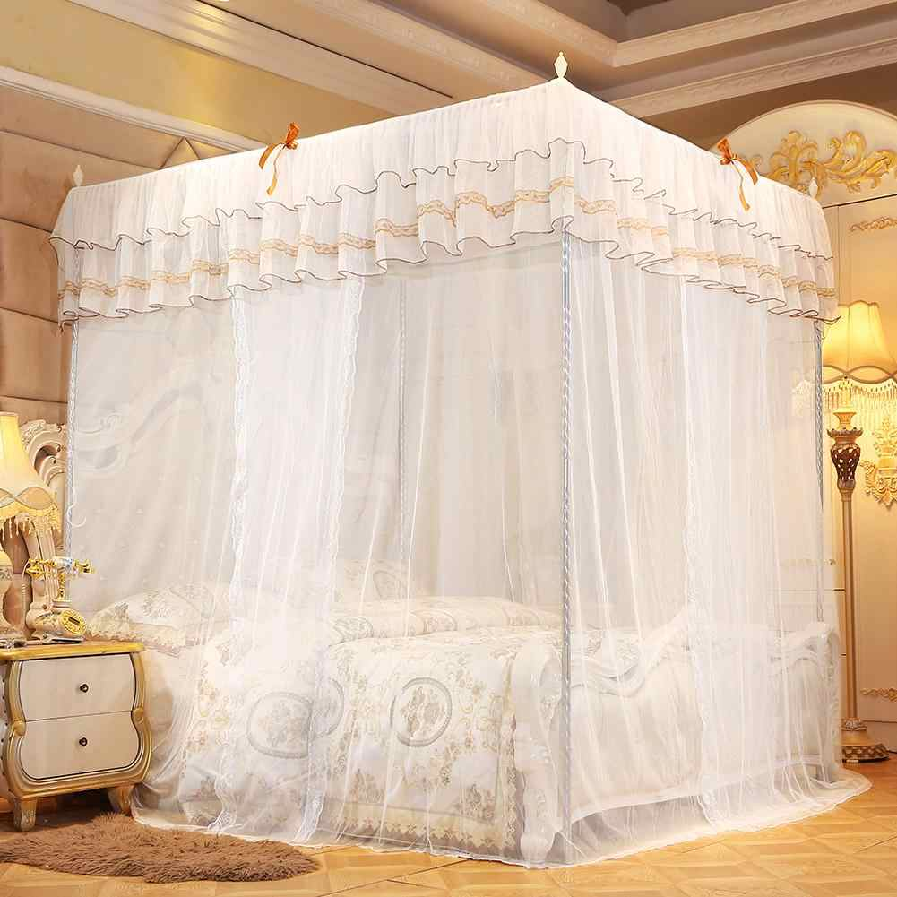 Zerodis Canopy Bed Whiite Mosquito Net Four Corner Post Bed Curtain Canopy Netting Mosquito Net Bedding For Girls