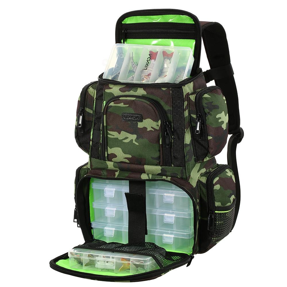 Lixada Fishing Tackle Bag Backpack Fishing Lures Bait Box Storage Bag 4 Fishing Tackle Boxes Large