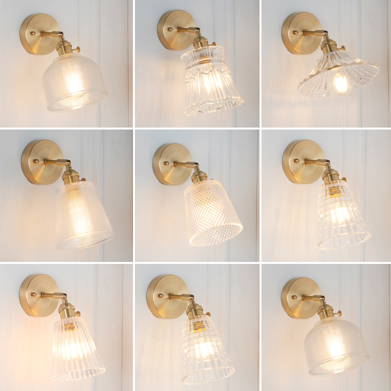Brass Copper Glass Led Wall Lamp Vintage Bedroom Bathroom Mirror Light Nordic Edison Wall Sconce Lights Home Lighting LuminaireBrass Copper Glass Led Wall Lamp Vintage Bedroom Bathroom Mirror Light Nordic Edison Wall Sconce Lights Home Lighting Luminaire
