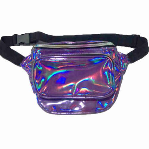 ホログラフィックファニーパック玉虫色 PU レーザー Bumbag ウエストパッククロスボディヒップ旅行バッグ黒青ゴールドパープルシルバー