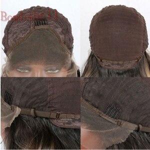 Image 3 - Bombshell Natürliche Dichte Schwarz Lange Gerade Synthetische Spitze Front Perücken Glueless Hitze Beständig Faser Haar Mittleren Teil Für Frauen
