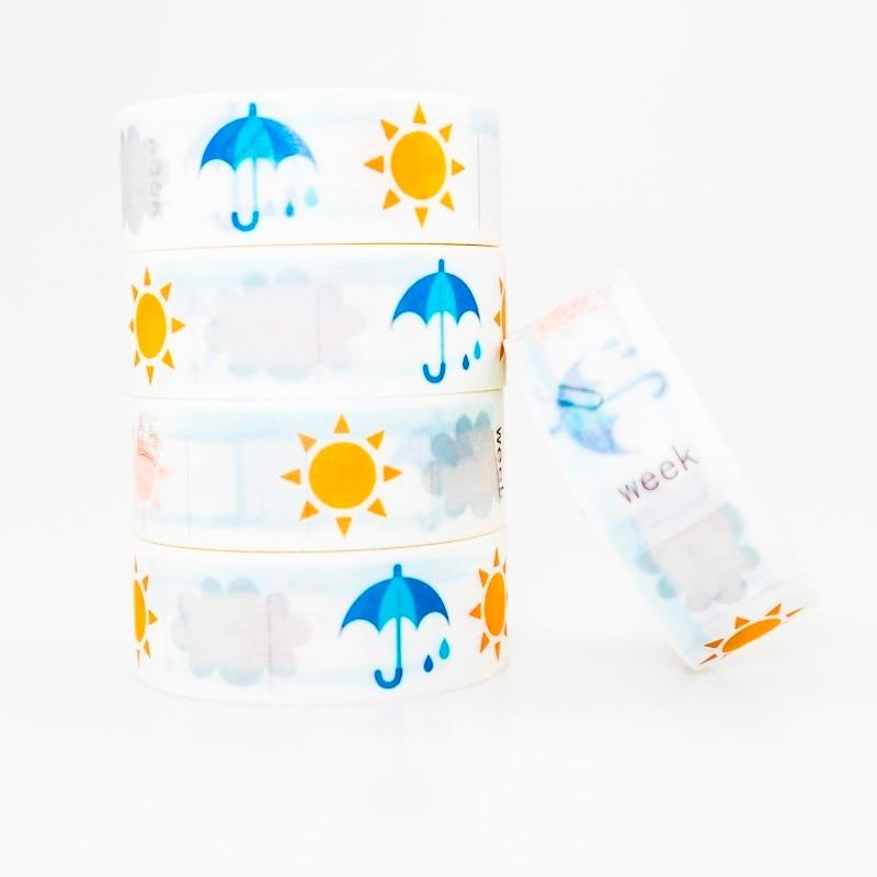 Sun Umbrella Pattern Washi Masking Tape Sticky Color Decorative Tape Set DIY Decoration Office Stationery Scrapbook 1PCS