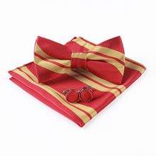 Mantieqingway men's suit pocket towel handkerchief Harry Potter contrast color polyester stripe bow tie set contrast crochet bow tie neck pullover