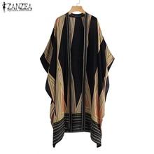 ZANZEA Women Vintage Kimono Cardigan Ladies 2019 Summer Long Blouse Loose Printed Tops Blusas Batwing Shirts Plus Size