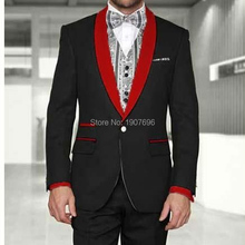 Black Wedding Groom Tuxedos for Mens Evening Prom Suits with Red Shawl Lapel Slim Fim Two Piece Man Set Jacket Pants Latest
