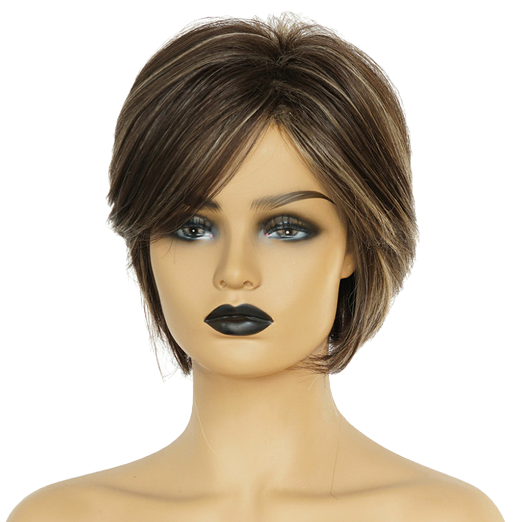 10 inch Chic Natural Short Straight Wigs Fluffy Human Hair Pixie Cut Full Wig for Women stylish black side bang synthetic fluffy medium natural straight adiors wig for women