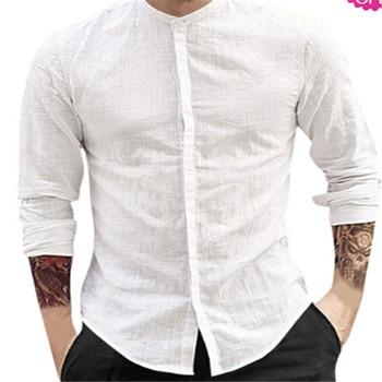 New Men Shirt Long Sleeve Solid Cotton Linen Casual Shirts Shirt V-Neck Cotton Chinese Style Summer Beach Top